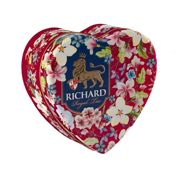 RICHARD Royal Heart - Crni cejlonski čaj, sa bergamotom, vanilom, narandžom i laticama ruže, 30g rinfuz, RED metalna kutija